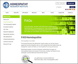 Ein Screenshot der Webseite https://www.hri-research.org/de/homeopathy-faqs/